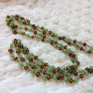 Emerald and Amber colored Beaded Necklace